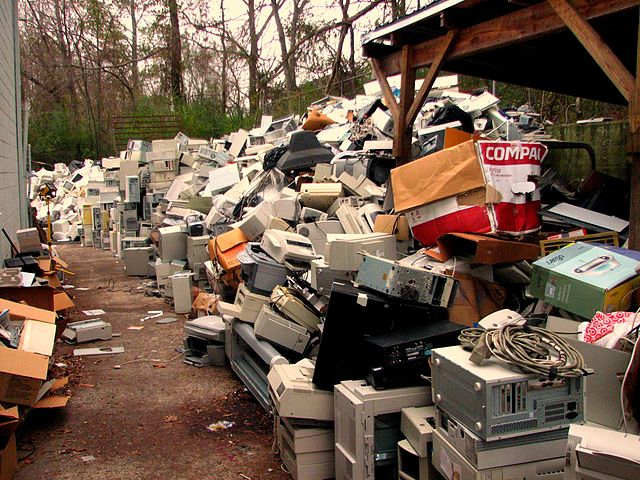 Old electrical waste stacked up high.