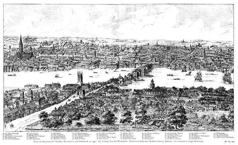 Etching of Medieval London